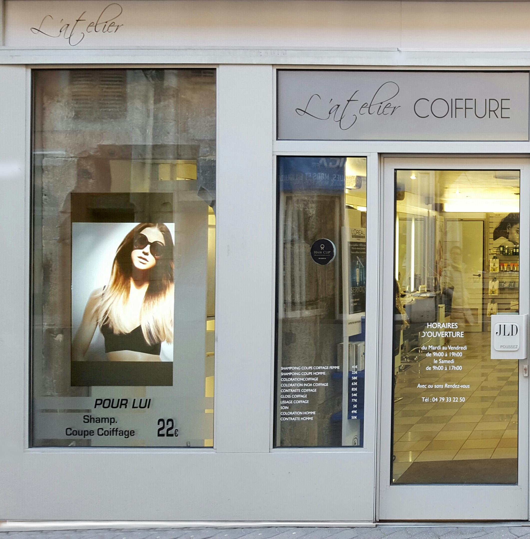 Salon de coiffure r 39 screen for Devanture salon de coiffure